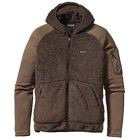 Free Shipping. Patagonia Men's Los Lobos Jacket DECENT FEATURES of the Patagonia Men's Los Lobos Jacket Torso is made of a warm, polyester high-pile directional fleece Shoulders, sleeves, and side panels are made of Polartec Power Dry Hooded full-zip jacket zips through neck Raglan sleeves for pack-wearing comfort Pockets: Two angled, zippered handwarmers and easy-access zippered pocket on left bicep Micro-polyester jersey trim on hood opening and bottom hem Hip length The SPECS Regular fit Weight: 15 oz / 425 g Body and Hood: 8.6-oz 100% polyester high-pile fleece Shoulders, Sleeves and Side Panels: 5.9-oz Polartec Power Dry 94% polyester (53% recycled)/6% spandex This product can only be shipped within the United States. Please don't hate us. - $129.00