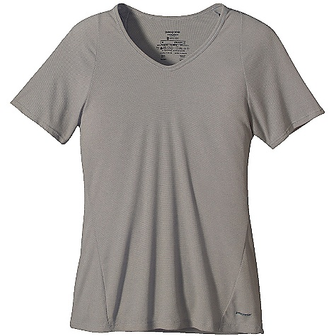 On Sale. Patagonia Women's Capilene 2 LW T-Shirt DECENT FEATURES of the Patagonia Women's Capilene 2 LW T-Shirt Open knit promotes airflow, is naturally stretchy and provides excellent wicking for endurance activities in cool to moderate temperatures Our fastest-drying baselayer fabric insulates enough for use on chilly days and can be worn beneath other layers Modified raglan sleeves enable full range of motion Side seams roll forward for comfort under layers Straight hem cut long enough to tuck in Machine-wash cold, tumble dry at low temperature The SPECS Slim fit Weight: 3.7 oz / 105 g 4-oz 100% polyester (54% recycled) circular knit, with Gladiodor odor control for the garment This product can only be shipped within the United States. Please don't hate us. - $27.99