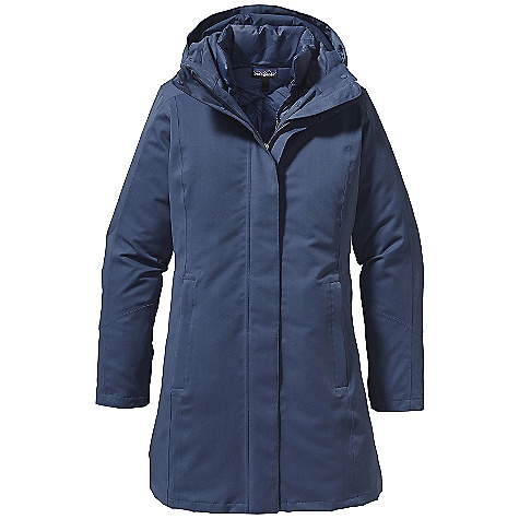 On Sale. Free Shipping. Patagonia Women's Tres Parka DECENT FEATURES of the Patagonia Women's Tres Parka Versatile H2No Performance Standard 3-in-1 waterproof, down insulated parka offers three options: 2-layer waterproof/breathable, windproof shell with a warm zip-out parka 2-layer waterproof/breathable, windproof stretch twill shell has a recycled polyester lining 2-way full zip with storm flap, secures with snaps Adjustable, Snap-on hood for warmth tall zip-through stand-up collar opens flat for cooling Princess seams front and back welted front hand warmer pockets internal zippered security pocket Zip-out parka has chevron quilting on-seam hand warmer pockets Above-the-knee length The SPECS Slim fit Weight: 45 oz / 1276 g H2No Performance Standard 2-layer, 6.7-oz 100% polyester stretch twill shell with a waterproof/breathable barrier and a Deluge DWR finish Lining: 2.3-oz 100% recycled polyester plain weave Insulated Parka: 1.5-oz 22-denier 100% recycled polyester Insulation: 600-fill-power premium European goose down This product can only be shipped within the United States. Please don't hate us. - $323.99