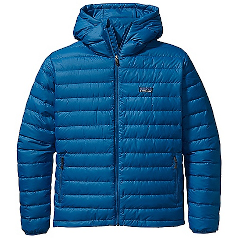 On Sale. Free Shipping. Patagonia Men's Down Sweater Full-Zip Hoody DECENT FEATURES of the Patagonia Men's Down Sweater Full-Zip Hoody Superlight windproof shell fabric with high tear-strength has a Deluge DWR finish Quilted construction stabilizes 800-fill-power premium European goose down Single-pull, adjustable helmet-compatible hood Two zippered hand warmer pockets; one internal stretch mesh self-stuff pocket with a reinforced carabiner clip-in loop Nylon-bound elastic cuffs and adjustable Draw cord hem seal out drafts Draw cord hem seals in warmth, seals out wind The SPECS Regular fit Weight: 15.2 oz / 431 g Shell and Lining: 1.4-oz 22-denier 100% recycled polyester ripstop with a Deluge DWR (durable water repellent) finish Insulation: 800-fill-power premium European goose down This product can only be shipped within the United States. Please don't hate us. - $199.99
