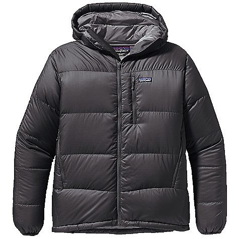 On Sale. Free Shipping. Patagonia Men's Fitz Roy Down Hoody DECENT FEATURES of the Patagonia Men's fitz Roy Down Hoody Baffled construction promotes optimal loft and compressibility Lightweight and windproof recycled polyester ripstop fabric is treated with a Deluge DWR (durable water repellent) finish for wet-weather protection 800-fill-power premium European goose down Center front zipper has low-bulk draft tube to prevent wind chill Fleece-lined chin flap for comfort Pockets: Two microfleece-lined, zippered handwarmers, one exterior chest, one interior zippered security, one interior mesh drop-in Dual-adjust drawcord hem seals out drafts The SPECS Weight: 22.8 oz / 646 g Regular fit Shell: 1.3-oz microdenier 100% recycled polyester ripstop Insulation: 800-fill-power premium European goose down Lining: 1.4-oz 22-denier 100% recycled polyester Shell and lining have a Deluge DWR (durable water repellent) finish This product can only be shipped within the United States. Please don't hate us. - $245.99