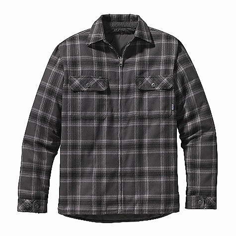 On Sale. Free Shipping. Patagonia Men's Reversible Flannel Jacket DECENT FEATURES of the Patagonia Men's Reversible Flannel Jacket Soft yet durable brushed polyester yarn-dyed plaid flannel, reverses to supple polyester plain weave with a Deluge DWR (durable water repellent) finish Full-zip shirt-jacket insulated with 60-g Thermogreen recycled polyester Pockets: Two on-seam handwarmers and two single-button pockets with chest flaps on plaid side One snap down left-chest patch pocket on solid side Adjustable double-button cuffs Hip length The SPECS Relaxed fit Weight: 28.3 oz / 802 g Lining: 2.3-oz 100% recycled polyester plain weave with a Deluge DWR (durable water repellent) finish Insulation: 60-g 100% Thermogreen polyester (90% recycled) 8.1-oz 100% polyester yarn-dyed flannel This product can only be shipped within the United States. Please don't hate us. - $115.99
