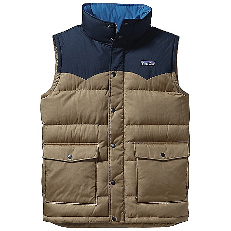 Free Shipping. Patagonia Men's Slingshot Down Vest DECENT FEATURES of the Patagonia Men's Slingshot Down Vest Durable, Yet Lightweight, Polyester Ripstop Shell with 600-Fill-Power Premium European Goose Down Insulation Yoked Vest Has Full-Length Zipper with Snap-Closure Storm Flap and Stand-Up Collar Horizontal Quilt Lines Pockets: Flapped, Snap-Closure Patch Pockets with Side Entry Handwarmers On Lower Torso and Internal Zip Chest Pocket Drop-Tail Hem Stuff Sack Included Hip Length The SPECS Regular fit Weight: 13.1 oz / 371 g 2.4 oz 100% Polyester Ripstop Lining: 2 oz 100% Polyester Plain Weave Insulation: 600-Fill-Power Premium European Goose Down This product can only be shipped within the United States. Please don't hate us. - $149.00