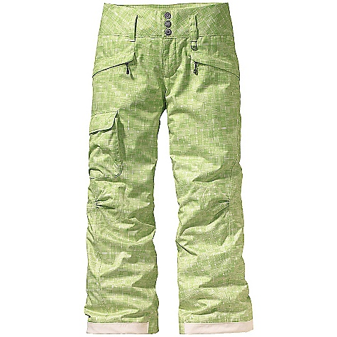 Ski On Sale. Free Shipping. Patagonia Women's Insulated Snowbelle Pants DECENT FEATURES of the Patagonia Women's Insulated Snowbelle Pants Soft and durable 2-layer polyester with herringbone weave has a waterproof, breathable H2No barrier for storm protection, and a Deluge DWR (durable water repellent) finish to stop rain and snow 60-g Thermogreen insulation ensures you stay warm Waist details: Soft brushed tricot lining wicks moisture Adjustable elastic tabs customize the fit Two-snap closure and zip fly Loops on rear yoke securely attach pant to powder skirt on any Patagonia Ski/Snowboard Jacket to keep snow out Mesh-lined interior thigh vents release heat and keep snow out Articulated knees improve mobility Gaiters keep the snow out, while tough scuff guards protect inside of leg and bottom hem Pockets: Two secure zippered handwarmers and one right thigh that secures with hook and loop Shaping in the seat and slight boot cut provide a feminine silhouette The SPECS Weight: 29 oz / 822 g Relaxed fit Shell: 2-layer, 5.6-oz 150-denier 100% polyester with a waterproof, breathable H2No barrier and a Deluge DWR (durable water repellent) finish Lining: 2-oz 100% polyester plain weave Insulation: 60-g Thermogreen 100% polyester (90% recycled) This product can only be shipped within the United States. Please don't hate us. - $139.99