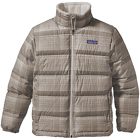 On Sale. Free Shipping. Patagonia Kids' Down Jacket DECENT FEATURES of the Patagonia Kids' Down Jacket Shell fabric is windproof and treated a with Deluge DWR (durable water repellent) finish High-loft 600-fill-power premium European goose down provides lightweight core warmth Zipper garage prevents chin chafe Fleece-lined collar adds warmth and comfort Diagonal quilting on side panels improves shaping, vertical quilting on collar decreases bulk On-seam zippered hand warmer pockets with reflective pulls Elastic cuffs Draw cord at waist Hand-me-down ID label inside The SPECS Relaxed fit Weight: 15.8 oz / 448 g Solid Shell: 2.3-oz 100% polyester ripstop Printed Shell: 2.7-oz 100% recycled polyester Lining: 2-oz 100% polyester plain weave All with a Deluge DWR finish Insulation: 600-fill-power premium European goose down This product can only be shipped within the United States. Please don't hate us. - $79.99