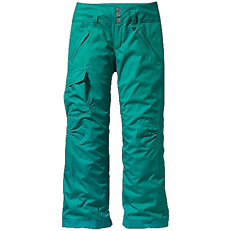 Ski On Sale. Free Shipping. Patagonia Women's Snowbelle Pants DECENT FEATURES of the Patagonia Women's Snowbelle Pants Soft and durable 2-layer polyester with herringbone weave Combination of brushed and slick mesh lining keeps you warm while wicking away moisture Waist details: Soft, brushed tricot lining wicks moisture Adjustable elastic tabs customize the fit Three-snap closure and zip fly Loops on rear yoke securely attach pant to powder skirt on any Patagonia Ski/Snowboard Jacket to keep snow out Mesh-lined interior thigh vents release heat and keep snow out Articulated knees improve mobility Gaiters keep the snow out, while tough scuff guards protect inside of leg and bottom hem Pockets: Two secure zippered handwarmers and one right thigh that secures with hook and loop Shaping in the seat and slight boot cut provide a feminine silhouette The SPECS Relaxed fit Weight: 26 oz / 737 g Shell: 2-layer, 5 oz 150-denier 100% polyester herringbone weave with a waterproof, breathable H2No barrier and a Deluge DWR (durable water repellent) finish Seat And Thighs Lining: 100% polyester brushed mesh Lower Legs Lining: 100% polyester mesh This product can only be shipped within the United States. Please don't hate us. - $118.99