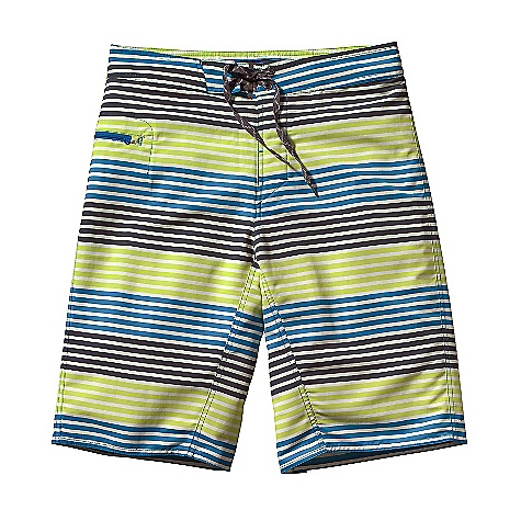 Surf Free Shipping. Patagonia Men's Twenty-Threes Wavefarer Board Shorts DECENT FEATURES of the Patagonia Men's Twenty-Threes Wavefarer Board Shorts Recyclable, lightweight nylon with a DWR finish is durable and quick-drying Board shorts have a 3-piece, self-lined waistband that contours to the hip, and a flat-lying fly with a single rubber button and ladder-lock drawstring closure Zippered horizontal pocket on right thigh is self-draining and has a non-corrosive recyclable plastic zipper and an internal key loop Forward inseam at crotch eliminates chafing Hem hits below the knee The SPECS Regular fit Inseam: 12in. Outseam: 23in. Weight: 6.8 oz / 192 g 4.3-oz 100% Supplex nylon with a DWR finish This product can only be shipped within the United States. Please don't hate us. - $69.00