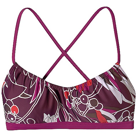 Surf On Sale. Free Shipping. Patagonia Women's Print Jalama Bikini Top DECENT FEATURES of the Patagonia Women's Print Jalama Bikini Top Adjustable gathers at front neck Versatile straps can be tied halter style, or crossover style through back loops Lined front (no removable soft cups) Banded under bust The SPECS Formfitting Weight: 56 g / 2 oz 6-oz 82% nylon/18% spandex Recyclable through the Common Threads Recycling Program This product can only be shipped within the United States. Please don't hate us. - $29.99