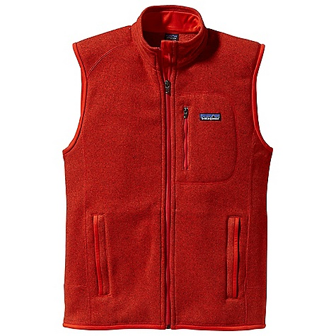 Free Shipping. Patagonia Men's Better Sweater Vest DECENT FEATURES of the Patagonia Men's Better Sweater Vest Fabric has a sweater-knit face, fleece interior and heathered yarns Full-zip vest with zip-through stand-up collar and zipper garage Offset shoulder seams for pack-wearing comfort Zippered Pockets: Vertical chest and two hand warmers Micro polyester jersey trim on armholes, hem and back of neck Can be worn with layers as outerwear or as a midlayer under a shell Hip length The SPECS Regular fit Weight: 14.1 oz / 400 g 9.5-oz 100% polyester with sweater-knit exterior and fleece interior This product can only be shipped within the United States. Please don't hate us. - $99.00