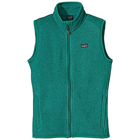 Free Shipping. Patagonia Women's Better Sweater Vest DECENT FEATURES of the Patagonia Women's Better Sweater Vest Fabric has a sweater-knit face, fleece interior and heathered, over dye yarns with a knit-like texture Front zipper has a wind flap and a zipper garage Polyester jersey fabric trim on the wind flap, pockets, armholes and hem Interior drop-in pockets Hip length The SPECS Slim fit Weight: 11.6 oz / 329 g 9.5-oz 100% polyester with a sweater-knit exterior and fleece interior This product can only be shipped within the United States. Please don't hate us. - $99.00
