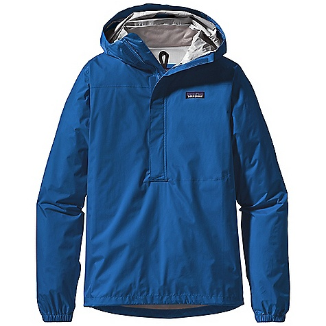 Free Shipping. Patagonia Men's Torrentshell Pullover DECENT FEATURES of the Patagonia Men's Torrentshell Pullover H2No Performance Standard shell with waterproof/breathable 2.5-layer nylon ripstop 2-way-adjustable hood with laminated visor rolls down and stows Micro fleece-lined neck provides comfort and protects waterproof/breathable barrier Chest-deep center-front zipper with a minimal welt storm flap creates a zipper-garage chin guard Drop-in center-front torso pocket with welted exterior storm flap and DWR-treated zippers Elasticized cuffs and adjustable draw cord hem Stows in self-stuff torso pocket with carabiner clip-in loop The SPECS Regular fit Weight: 10.8 oz / 306 g H2No Performance Standard shell: 2.5-layer, 2.6-oz / 50-denier 100% nylon ripstop with a waterproof/breathable barrier and a Deluge DWR (durable water repellent) finish This product can only be shipped within the United States. Please don't hate us. - $119.00