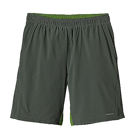 Free Shipping. Patagonia Men's Nine Trails Shorts DECENT FEATURES of the Patagonia Men's Nine Trails Shorts Durable Yet Supple, This Highly Breathable Stretch-Woven Fabric Resists Snagging Deluge DWR Finish For Improved Moisture Management Lightweight, Breathable, Built-In Liner Internal Draw Cord At Waist Secures fit Pockets: Two Front Drop-In One Back Zippered with Key Loop All with Stitched-Through Pocket Bags For Secure Storage Inside Waistband and Gusset Made Of Ultra Light Air Flow Mesh Fabric Reflective Heat-Transfer Logo On Front and Back The SPECS Regular fit Weight: 189 oz / 6.7 g Inseam: 8in. Body: 3.5 oz 75-Denier 91% All-Recycled Polyester, 9% Spandex with 4-Way Stretch and Deluge DWR Finish Inside Waistband and Gusset: 3.1 oz 100% Polyester (30% Recycled) with Gladiodor Odor Control For The Garment Insulation: 60-g Primaloft One Polyester Mesh with Gladiodor Odor Control For The Garment Lining: 3.8 oz Micro Denier 100% Polyester Crepe with Moisture Wicking Performance Recyclable Through The Common Threads Recycling Program This product can only be shipped within the United States. Please don't hate us. - $59.00