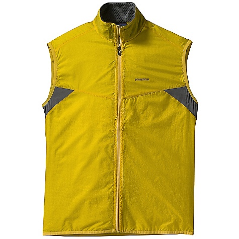 On Sale. Free Shipping. Patagonia Men's Nine Trails Vest DECENT FEATURES of the Patagonia Men's Nine Trails Vest Made of durable triple-ripstop nylon with breathable recycled polyester stretch-woven fabric on the back Shell fabric treated with a Deluge DWR finish for weatherresistant protection New articulated fit and style won't hinder movement Elastic binding at armholes and hem provide a secure fit Reflective logo on chest; reflective zipper on back pocket Vest stuffs into rear zippered pocket Can be be worn over baselayers and light midlayers Reflective logos on front and back The SPECS Slim fit Weight: 2.9 oz / 82 g Body:1.1-oz 15-denier 100% nylon with 50-denier triple-ripstop yarns Back Panel: 3.5-oz 75-denier stretch woven 91% all-recycled polyester, 9% spandex With a Deluge DWR finish This product can only be shipped within the United States. Please don't hate us. - $54.99