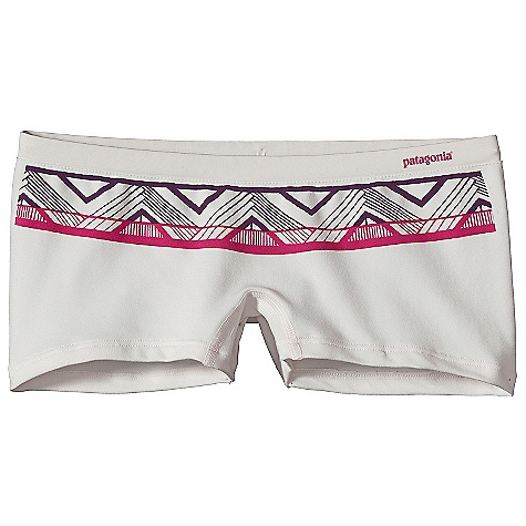 On Sale. Patagonia Women's Active Boy Shorts DECENT FEATURES of the Patagonia Women's Active Boy Shorts Ultra soft, lightweight polyester/spandex stretch blend wicks moisture Seamless construction Waistband and shaped leg openings lie flat and won't roll or bind Tag less for itch-free comfort The SPECS Formfitting Weight: 1.1 oz / 31 g 5.8-oz 92% polyester (76% recycled) 8% spandex This product can only be shipped within the United States. Please don't hate us. - $12.99