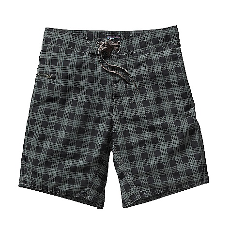 Surf On Sale. Free Shipping. Patagonia Men's Minimalist Wavefarer Board Short DECENT FEATURES of the Patagonia Men's Minimalist Wavefarer Board Short Made of a recyclable and lightweight, quick-drying nylon fabric with a DWR finish 3-Piece-self-lined waistband contours to hip flat-lying fly with single rubber button functional mesh gasket easily drains ladder-lock drawstring closure turned, bartacked drawstring is durable and adds security Self-draining horizontal pocket on right thigh with a non-corrosive, recyclable plastic zipper internal key loop and added zipper pull for ease of use and functionality Forward inseam at crotch eliminates skin chafe Trim silhouette on thigh and leg opening for ease of movement and better dry time The SPECS Regular fit Outseam: 19in. 4.3-oz 100% Supplex nylon with a DWR finish This product can only be shipped within the United States. Please don't hate us. - $28.99