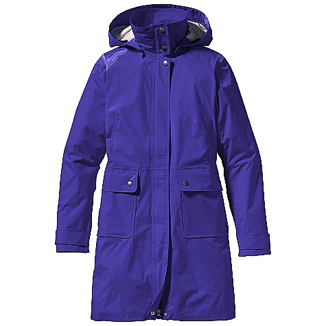 On Sale. Free Shipping. Patagonia Women's Torrentshell Trench Coat DECENT FEATURES of the Patagonia Women's Torrentshell Trench Coat H2No Performance Standard 2.5-layer, tear-resistant fabric is packable and lightweight Interior surface/texture channels moisture away from skin, slides easily over layers, and protects the waterproof/breathable barrier from abrasion Adjustable and removable hood secures with hidden snaps Full-length snap placket with 2-way zipper and storm flap Articulated elbows Cuff tabs have two-position snaps Pockets: two front, flapped patch pockets with snaps Zippered interior mesh Front and back princess seaming with darts provide a feminine silhouette Elasticized waist at back Above-the-knee length The SPECS Regular fit Weight: 15.9 oz / 450 g H2No Performance Standard Shell: 2.5-layer, 2.6 oz 50-denier 100% nylon ripstop with a waterproof/breathable barrier and Deluge DWR (durable water repellent) finish This product can only be shipped within the United States. Please don't hate us. - $142.99