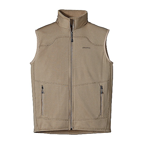 Free Shipping. Patagonia Men's R1 Vest DECENT FEATURES of the Patagonia Men's R1 Vest Versatile R1 fleece provides excellent stretch, warmth, wicking and breath ability in a variety of temperatures Fleece has high/low grid on inside for enhanced compressibility, airflow, and dry time Micro fiber fleece face speeds moisture-wicking and allows for easy layering Off-shoulder seam construction reduces bulk under a pack Two zippered hand warmer pockets The SPECS Slim fit Weight: 9.2 oz / 260 g 6.8-oz Polartec Power Dry 93% polyester (41% recycled), 7% spandex This product can only be shipped within the United States. Please don't hate us. - $99.00