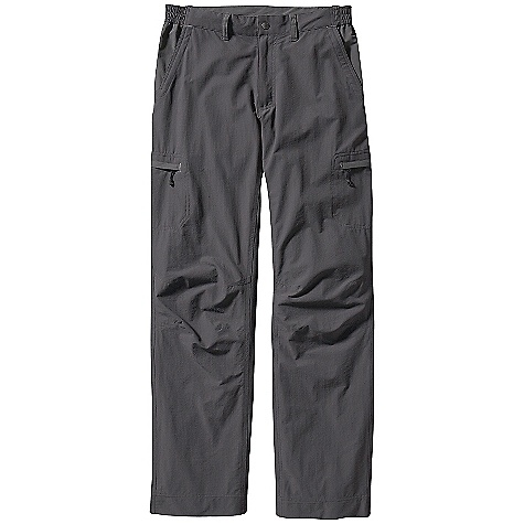 Free Shipping. Patagonia Men's Nomader Pants DECENT FEATURES of the Patagonia Men's Nomader Pants Versatile, durable nylon/spandex fabric with grid-like texture is water-repellent and provides 40-UPF sun protection Belt loops, zip fly, and snap closure at the waist Stretchy panels at the hips for comfort Three zippered pockets: two large on legs, one on back Front contoured slash pockets and back drop-in pockets All pockets have mesh pocket bags for airflow Gusseted crotch and articulated knees for increased mobility The SPECS Weight: 12.8 oz / 362 g Inseam: 32in. 4-oz 95% nylon (60% recycled), 5% spandex, with DWR (durable water repellent) finish and 40-UPF sun protection This product can only be shipped within the United States. Please don't hate us. - $89.00