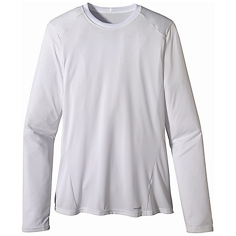On Sale. Patagonia Men's Capilene 1 SW Crew DECENT FEATURES of the Patagonia Men's Capilene 1 SW Crew Fast drying, highly breathable, provides 15-UPF sun protection, and can be worn on its own or under layers in cooler temperatures Rib-knit collar is soft against the skin Set-in sleeves reduce chafe beneath pack straps Cut long enough to tuck in Machine-wash cold, tumble dry at low temperature The SPECS Slim fit Weight: 4.6 oz / 130 g 3.4-oz 100% recycled polyester, with 15-UPF sun protection and Gladiodor odor control for the garment This product can only be shipped within the United States. Please don't hate us. - $31.99