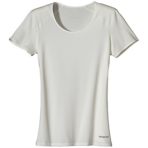On Sale. Patagonia Women's Capilene 1 SW Stretch T-Shirt DECENT FEATURES of the Patagonia Women's Capilene 1 SW Stretch T-Shirt Superior stretch and moisture management Durable smooth jersey face is comfortable against the skin Self-fabric neckline with a slight scoop Seams offset for maximum mobility with minimum chafe Slight gather detail at sleeve Reflective logo Machine-wash cold, tumble dry at low temperature The SPECS 5.1-oz 84% polyester, 16% spandex jersey, with 50+ UPF sun protection and Gladiodor odor control for the garment Weight: 4.5 oz / 127 g Slim fit This product can only be shipped within the United States. Please don't hate us. - $19.99