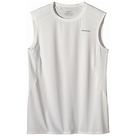 On Sale. Patagonia Men's Capilene 1 SW Stretch Sleeveless T-Shirt DECENT FEATURES of the Patagonia Men's Capilene 1 SW Stretch Sleeveless T-Shirt Superior stretch and moisture management 50+ UPF sun protection Durable smooth jersey face is comfortable against the skin Self-fabric crewneck Seams offset for maximum mobility with minimum chafe Reflective logo Machine-wash cold, tumble dry at low temperature The SPECS Slim fit Weight: 4.8 oz / 136 g 5.1-oz 84% polyester, 16% spandex jersey, with 50+ UPF sun protection and Gladiodor odor control for the garment This product can only be shipped within the United States. Please don't hate us. - $17.99