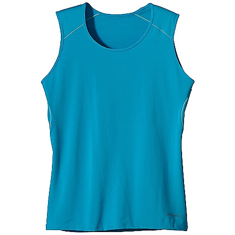 Fitness On Sale. Patagonia Women's Capilene 1 SW Stretch Tank DECENT FEATURES of the Patagonia Women's Capilene 1 SW Stretch Tank Superior stretch and moisture management with 50+ UPF sun protection Durable smooth jersey face is comfortable against the skin Self-fabric crewneck Seams offset for maximum mobility with minimum chafe Wide tank strap accommodates/hides sports bra straps Reflective logo on front and center back Machine-wash cold, tumble dry at low temperature The SPECS Slim fit Weight: 4.2 oz / 119 g 5.1-oz 84% polyester, 16% spandex jersey, with 50+ UPF sun protection and Gladiodor odor control for the garment This product can only be shipped within the United States. Please don't hate us. - $17.99
