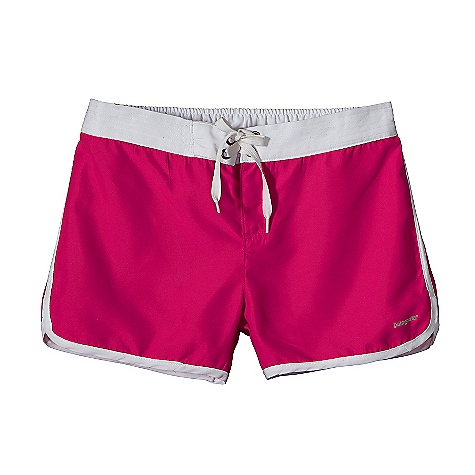 Surf Patagonia Girls' Boardie Shorts DECENT FEATURES of the Patagonia Girls' Boardie Shorts Made of lightweight and quick-drying microfiber polyester with a DWR finish Multistitched waistband with back elastic provides a comfortable fit Board-short-inspired closure with a fake-fly and easy-to-adjust nylon drawcord Back pocket with drain hole Hip-riding and unlined Fun contrast binding down side seams and leg opening with curved detail The SPECS Regular fit Inseam: 2in. Weight: 3.3 oz / 94 g 3.7-oz 100% microfiber polyester with a brushed face and a DWR (durable water repellent) finish This product can only be shipped within the United States. Please don't hate us. - $39.00