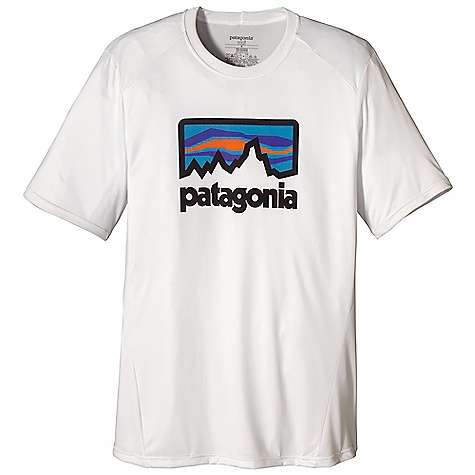On Sale. Patagonia Men's Capilene 1 SW Graphic T-Shirt DECENT FEATURES of the Patagonia Men's Capilene 1 SW Graphic T-Shirt Fast drying, highly breathable, provides 15-UPF sun protection, and can be worn on its own or under layers in cooler temperatures Rib-knit collar is soft against the skin Graphic elements sublimated into the fabric for breathability and wicking performance Set-in sleeves Cut long enough to tuck in Machine-wash cold, tumble dry at low temperature Original artwork for Patagonia by Aaron Draplin, Michael Cassidy, BXC Design and Patagonia Logowear Crew The SPECS Slim fit Weight: 4.1 oz / 116 g 3.4-oz 100% recycled polyester, with 15-UPF sun protection and Gladiodor odor control for the garment This product can only be shipped within the United States. Please don't hate us. - $34.99