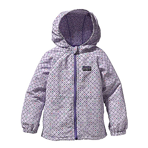 On Sale. Free Shipping. Patagonia Baby Baggies Jacket DECENT FEATURES of the Patagonia Baby Baggies Jacket Made of durable, lightweight Supplex nylon that dries fast and has a DWR finish Hooded windbreaker is durable, quick drying and lightweight with a DWR (durable water repellent) finish Side elastic in hood and at sleeve opening provides a comfortable, stay-put fit Inside neck tape has clean finish Zipper garage protects chin Raglan sleeves Two hand warmers double as stow pockets The SPECS Relaxed fit Weight: 5.1 oz / 144 g 4-ply, 4.2-oz Supplex 100% nylon with a DWR (durable water repellent) finish This product can only be shipped within the United States. Please don't hate us. - $28.99