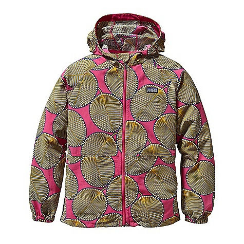 Free Shipping. Patagonia Kid's Baggies Jacket DECENT FEATURES of the Patagonia Kids' Baggies Jacket Hooded windbreaker is durable, quick-drying and lightweight with a DWR finish Side elastic in hood and sleeve opening provide a comfortable, stay-put fit Zipper garage for chin protection Raglan sleeves Two zippered hand warmer pockets double as stow pockets Fun prints The SPECS Relaxed fit Weight: 9.2 oz / 260 g 4-ply, 4.2-oz 100% Supplex nylon with a DWR (durable water repellent) finish This product can only be shipped within the United States. Please don't hate us. - $69.00