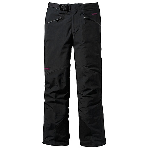 Ski Free Shipping. Patagonia Women's Triolet Pant DECENT FEATURES of the Patagonia Women's Triolet Pant 3-layer durably waterproof/breathable and windproof nylon Gore-Tex fabric Partially elasticized separating waist with watertight, Slim Zip fly and built-in adjustable belt with separating buckle Two hand warmer pockets feature supple, watertight-coated Slim Zips that reduce bulk and weight Full-length, watertight, coated side zips for easy on/off snap closures at ankle Articulated seat and knees for full mobility Ski-boot compatible cuffs have scuff guards, elasticized internal minigaiters, adjustable snap closure and tie-down loops Black The SPECS Regular fit Weight: 21.9 oz / 621 g 3-layer, 4.2-oz, 40-denier 100% nylon Gore-Tex fabric Reinforcement: 3-layer, 5.5-oz, 70-denier 100% nylon Gore-Tex fabric Shell and reinforcements have a DWR (durable water repellent) finish This product can only be shipped within the United States. Please don't hate us. - $399.00