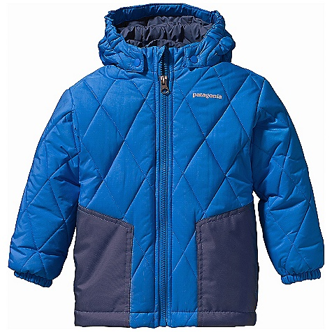On Sale. Free Shipping. Patagonia Baby Puff Rider Jacket DECENT FEATURES of the Patagonia Baby Puff Rider Jacket Soft and highly water-resistant, ripstop polyester shell is treated with a Deluge DWR (durable water repellent) finish Reinforced 2-layer waterproof panel construction over the elbows and hand warmer pockets prevent wet-through and add abrasion resistance 200-g Quallofil polyester is lightweight, compressible and insulates even when wet Diamond-quilted construction reduces bulk and maintains even warmth Elastic in back hem provides a secure fit Quilt pattern is larger and contrast patches are new shape for this season Polyester lining is durable and glides smoothly over under-layers Removable snap hood with three-panel construction and elasticized sides for a secure fit Full-length zipper with wind flap and zipper garage to eliminate chin chafe in.Grow-fitin. feature in sleeves allows 2in. more growing room Two patch hand warmer pockets Elasticized cuffs Reflective logo Hand-me-down ID label inside Relaxed fit The SPECS Weight: 12.8 oz / 363 g Shell: 3.5-oz 100% polyester ripstop Reinforcements: 2-layer 5.6-oz 100% polyester with a waterproof, breathable H2No barrier Shell and reinforcements have a Deluge DWR (durable water repellent) finish Lining: 2-oz 100% polyester plain weave Insulation: 200-g Quallofil 100% polyester Relaxed fit This product can only be shipped within the United States. Please don't hate us. - $78.99
