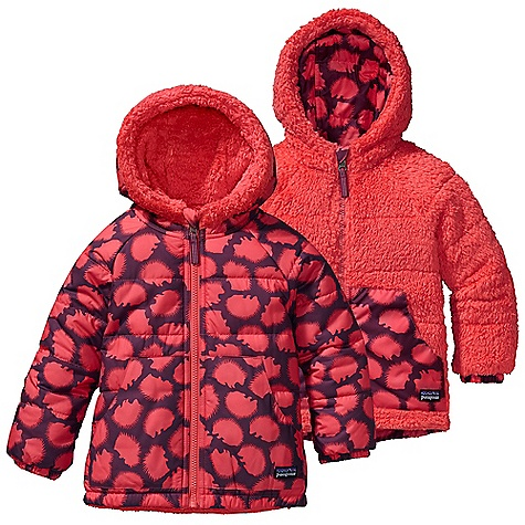 On Sale. Free Shipping. Patagonia Baby Reversible Tribbles Jacket FEATURES of the Patagonia Baby Reversible Tribbles Jacket Wind-resistant quilted shell is treated with a Deluge DWR reverses to a high-pile fleece side with warm 100-g Thermo green insulation Elasticized hood for a protective fit Raglan sleeves for extra mobility quilting through all layers to reduce bulk Shell and fleece side with hand warmer pockets durable elbow patches on fleece side Internal elasticized draw cord Full-length zipper with zipper garage and reflective pull elasticized cuff to seal out chill - $43.99