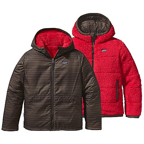 On Sale. Free Shipping. Patagonia Kid's Dynamite Duo Jacket DECENT FEATURES of the Patagonia Kids' Dynamite Duo Jacket Wind-resistant shell side is treated with a Deluge DWR finish Plush fleece side is insulated with warm 100-g Thermogreen insulation Quilting throughout all layers reduces bulk Three-panel hood is comfortable and provides a stay-put fit Handwarmer pockets on both sides Shell side with zip closure and fleece side with drop in Zipper garage prevents chin chafe Reflective pull on center-front zipper The SPECS Regular fit Weight: 19.4 oz / 549 g Shell: 2.7-oz 100% recycled polyester with a Deluge DWR (durable water repellent) finish Lining: 8.6-oz 100% polyester deep-pile, double-faced fleece Insulation: 100-g Thermogreen 100% polyester (90% recycled) This product can only be shipped within the United States. Please don't hate us. - $82.99