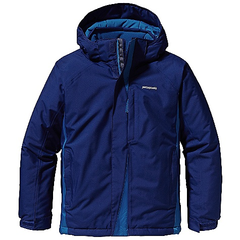 On Sale. Free Shipping. Patagonia Boy's Snow Flyer Jacket DECENT FEATURES of the Patagonia Boys' Snow Flyer Jacket Durable H2No Performance Standard 2-layer polyester shell and contrast have waterproof/ breathable barrier and a Deluge DWR (durable water repellent) finish Fully-taped seams for storm-level protection Highly compressible 150-g Thermo green stays warm and dry even when wet Removable hood has a zipper, snaps, and soft-lock pulls for a snug fit and extra warmth (this feature not on XS) Hood has low-bulk 3-panel construction Soft fleece-lined collar Full-length internal wind flap and external storm flap with hook-and-loop closure Articulated sleeves with grow-fit feature increases length by 2in. Elastic cuff adjusts with hook-and-loop closure Two insulated hand warmer pockets with reflective zipper pulls Internal drop-in pocket Hidden zippered chest pocket with interior cable routing Mini-powder skirt seals out snow and attaches to Patagonia Boys' Go- Snow Pants Integrated draw cord and cord locks at bottom hem secure fit Hand-me-down ID label Reflective logo The SPECS Relaxed fit Weight: 27.3 oz / 773 g H2No Performance Standard Shell: 2-layer, 5.6-oz 100% polyester Contrast: 2.5-layer, 2.6-oz 50-denier 100% nylon ripstop Shell and contrast have a waterproof/breathable barrier Lining: 2-oz 100% polyester plain weave All with a Deluge DWR (durable water repellent) finish Insulation: 150-g Thermo green 100% polyester (90% recycled) This product can only be shipped within the United States. Please don't hate us. - $148.99