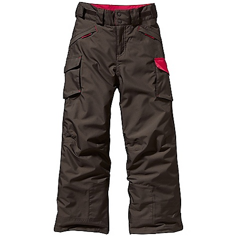Ski On Sale. Free Shipping. Patagonia Boy's Go - Snow Pant DECENT FEATURES of the Patagonia Boys' Go - Snow Pant Durable H2No Performance Standard 2-layer polyester shell and contrast have waterproof/ breathable barrier and a Deluge DWR (durable water repellent) finish Fully taped seams for storm-level protection Highly compressible 100-g Thermogreen stays warm and dry even when wet Fixed waistband with belt loops and external waist adjustment Zippered fly with double snap closure Two zippered handwarmer pockets with reflective zipper pulls Two gusseted patch pockets with hook-and-loop closure and D-ring to attach ski pass Workwear style with reinforced seat, scuff guards and hem Articulated knees Grow-fit feature in legs increases length by 2in. Belt loops on rear yoke integrate with the Boys' 3-in-1 and Boys' Snow Flyer jackets Internal gaiter with gripper elastic goes over boot and seals out cold Loop inside hem gives option to add cord, keeps pant from riding up Hand-me-down ID label The SPECS Regular fit H2No Performance Standard Shell: 2-layer, 5.6-oz 100% polyester Contrast: 2.5-layer, 2.6-oz 50-denier 100% nylon ripstop Shell and contrast have a waterproof/breathable barrier Lining: 2-oz 100% polyester plain weave All with a Deluge DWR (durable water repellent) finish Insulation: 100-g Thermogreen 100% polyester (90% recycled) Weight: 21.2 oz / 601 g This product can only be shipped within the United States. Please don't hate us. - $103.99