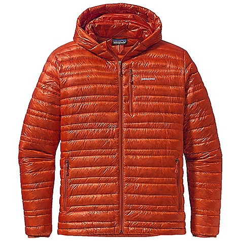 On Sale. Free Shipping. Patagonia Men's Ultralight Down Hoody DECENT FEATURES of the Patagonia Men's Ultralight Down Hoody The toughest, lightest-weight shell fabric we've ever used for down garments with a Deluge DWR finish 800-fill-power premium European goose down for low-bulk warmth Variegated channel construction stabilizes insulation and also allows the use of less down, creating an elegant, low-profile garment Low-profile adjustable hood seals out wind Two zippered hand warmer pockets one chest pocket Draw cord hem seals out cold and spindrift Self-fabric stuff sack The SPECS Slim fit Weight: 9.3 oz / 264 g Shell and Lining: 0.8 oz / 10-denier 100% nylon ripstop with a Deluge DWR (durable water repellent) finish Insulation: 800-fill-power premium European goose down This product can only be shipped within the United States. Please don't hate us. - $193.99