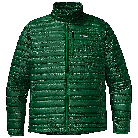 On Sale. Free Shipping. Patagonia Men's Ultralight Down Jacket DECENT FEATURES of the Patagonia Men's Ultralight Down Jacket The toughest, lightest-weight shell fabric we've ever used for down garments with a Deluge DWR finish 800-fill-power premium European goose down for low-bulk warmth Variegated channel construction stabilizes insulation and also allows the use of less down, creating an elegant low-profile garment Two zippered hand warmer pockets; one zippered chest pocket Draw cord hem seals out cold and spindrift Self-fabric stuff sack The SPECS Slim fit Weight: 8.3 oz / 235 g Shell and Lining: 0.8-oz 10-denier 100% nylon ripstop with a Deluge DWR finish Insulation: 800-fill-power premium European goose down This product can only be shipped within the United States. Please don't hate us. - $180.99