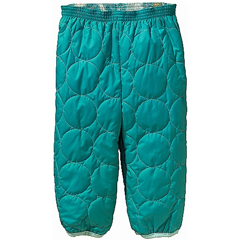 On Sale. Free Shipping. Patagonia Baby Reversible Puff - Ball Pant DECENT FEATURES of the Patagonia Baby Reversible Puff - Ball Pant Wind resistant, lightweight, and durable shell fabric is treated with a Deluge DWR finish 100-g Thermo green insulation stays warm and dry even when wet Fold-over elastic waist for comfort Gusseted crotch provides comfortable fit with diaper Spandex binding at ankle holds shape and seals out chill Reversible shell print and quilting offers style options for both boys' and girls' The SPECS Relaxed fit Weight: 5.2 oz / 147 g Shell: 2.3-oz 100% recycled polyester ripstop with a Deluge DWR (durable water repellent) finish Insulation: 100-g Thermo green 100% polyester (90% recycled) This product can only be shipped within the United States. Please don't hate us. - $29.99