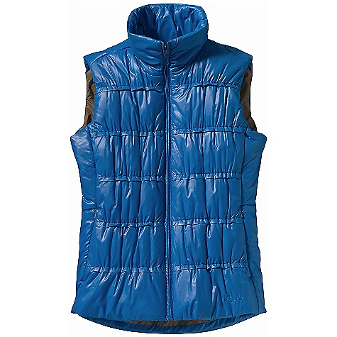 Free Shipping. Patagonia Women's Lidia Vest DECENT FEATURES of the Patagonia Women's Lidia Vest 100% recycled polyester double-ripstop shell insulated with warm, lightweight 150-g Thermogreen 100% polyester (90% recycled) 2-way front zipper and zip-through stand-up funnel collar Zippered, on-seam handwarmer pockets Internal zippered pocket Elegant shirred quilting with mini ruffles is elasticized for a flattering fit Princess seaming, front and back, for contouring and fit Contrast lining on all colors Hip length The SPECS Slim fit Weight: 11.5 oz / 326 g 1.2-oz 100% recycled polyester double ripstop with a Deluge DWR (durable water repellent) finish Lining: 2-oz 100% polyester plain weave Insulation: 150-g Thermogreen 100% polyester (90% recycled) This product can only be shipped within the United States. Please don't hate us. - $129.00