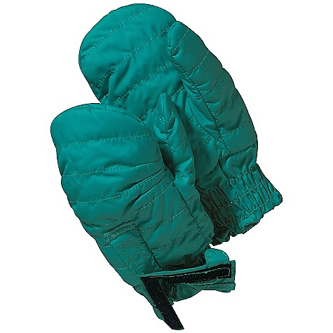 On Sale. Patagonia Baby Puff Mitts DECENT FEATURES of the Patagonia Baby Puff Mitts Lightweight wind-and water-resistant shell/fleece combination 100-g Thermo green insulation stays warm even when wet Adjustable hook-and-loop closure with pull tab on top of mitt for easy on/off Elasticized cuff keep mitts on and cold out Thumb compartments on all sizes The SPECS Regular fit Weight: 1.8 oz / 51 g Shell: 2.7-oz 100% recycled polyester with a Deluge DWR finish Lining: 8.6-oz 100% polyester high-pile double-faced fleece Insulation: 60-g Thermo green 100% polyester (90% recycled) This product can only be shipped within the United States. Please don't hate us. - $13.99