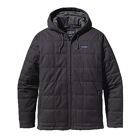 Free Shipping. Patagonia Men's Box Quilt Jacket DECENT FEATURES of the Patagonia Men's Box Quilt Jacket Brushed and quilted nylon/polyester herringbone fabric is windproof, lined with quilted polyester plain weave and insulated with 100-g recycled polyester Thermogreen Hooded jacket with adjustable drawcord on hood and welted full-length zipper Pockets: Two welted, zippered handwarmers and one zippered internal left-chest pocket are lined with brushed tricot Self-fabric cuffs and hem Hip length Regular fit The SPECS Weight: 29 oz / 822 g Fabric: 5.9-oz 58% polyester, 42% nylon brushed herringbone with windproof laminate Lining: 2-oz 100% polyester plain weave Insulation: 100-g Thermogreen 100% polyester (90% recycled) This product can only be shipped within the United States. Please don't hate us. - $179.00