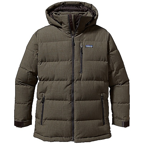 On Sale. Free Shipping. Patagonia Men's Doubledown Parka DECENT FEATURES of the Patagonia Men's Doubledown Parka 2-layer recycled polyester shell with Deluge DWR finish and insulated with 600-fill-power premium European goose down Hooded jacket with 2-way zipper stand-up collar, chin guard and insulated internal wind flap wide horizontal quilting Pockets: Two zippered hand warmers with zipper garage lined with brushed micro-polyester jersey zippered left-chest pocket with zipper garage and padded stretch-mesh electronics pocket for internal routing of earphones Self-fabric cuff with hook-and-loop closures Hood draw cord adjusts internally elasticized draw cord at hem Lower hip length The SPECS Regular fit Weight: 40.9 oz / 1159 g 2-layer, 6-oz 100% polyester plain weave (50% recycled) with a waterproof Breathable H2No barrier and a Deluge DWR (durable water repellent) finish Lining: 1.3-oz 100% recycled polyester Insulation: 600-fill-power premium European goose down This product can only be shipped within the United States. Please don't hate us. - $238.99