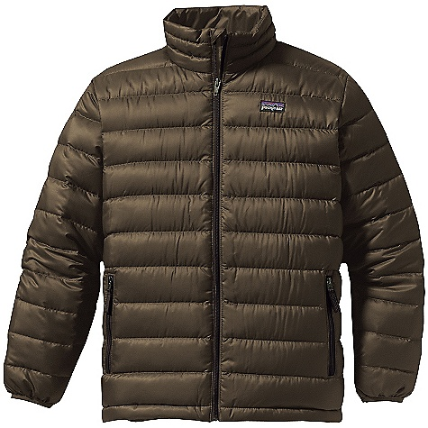 On Sale. Free Shipping. Patagonia Boys' Down Sweater DECENT FEATURES of the Patagonia Boys' Down Sweater Lightweight and wind-resistant polyester shell has high tear-strength with a Deluge DWR finish Lightweight and highly compressible 600-fill-power premium European goose down Comfortable quilt-through construction keeps goose down in place Full-zip through stand-up collar lined with brushed polyester jersey internal wind flap and zipper garage Sleeve has internal gaiter and spandex binding at cuff to seal out cold Two zippered hand warmer pockets with reflective pulls internal draw cord at hem Hand-me-down ID label can be worn as a midlayer underneath a shell The SPECS Relaxed fit Weight: 10.7 oz / 303 g Shell: 1.4-oz 20-denier polyester mini ripstop Lining: 2-oz 100% polyester plain weave Both with a Deluge DWR finish Insulation: 600-fill-power premium European goose down This product can only be shipped within the United States. Please don't hate us. - $68.99