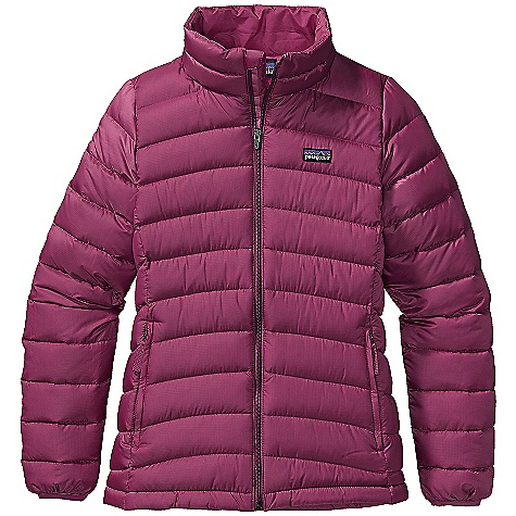 Free Shipping. Patagonia Girls' Down Sweater DECENT FEATURES of the Patagonia Girls' Down Sweater Lightweight and wind-resistant polyester shell has high tear-strength with a Deluge DWR finish Lightweight and highly compressible 600-fill-power premium European goose down Varied quilting pattern keeps goose down in place, adds aesthetic appeal and feminine fit Full-zip through stand-up collar lined with brushed polyester jersey with internal wind flap and zipper garage Sleeve has internal gaiter and spandex binding at cuff to seal out cold Two zippered hand warmer pockets with reflective pulls; internal draw cord at hem Hand-me-down ID label can be worn as a midlayer underneath a shell The SPECS Regular fit Weight: 10.3 oz / 292 g Shell: 1.4-oz 20-denier polyester mini ripstop Lining: 2-oz 100% polyester plain weave Both with a Deluge DWR finish Insulation: 600-fill-power premium European goose down This product can only be shipped within the United States. Please don't hate us. - $99.00