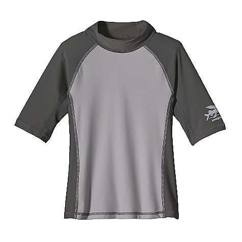 Surf On Sale. Patagonia Boys' Rashguard Top DECENT FEATURES of the Patagonia Boys' Rashguard Top Made of a Stretchy Nylon/Spandex Blend with 50+ UPF Sun Protection Seamless Underarm Gussets for Chafe-Free Comfort Flat-Seam Construction for Friction-Free Surfing Low-Profile Mock Turtleneck Contrast Front Panel Logo on Left Sleeve The SPECS Slim fit Weight: 4 oz / 113 g 6 oz 82% Nylon, 18% Spandex with 50+ UPF Sun Protection This product can only be shipped within the United States. Please don't hate us. - $17.99