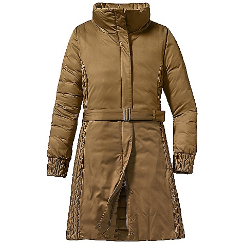 Free Shipping. Patagonia Women's Sasha Down Parka DECENT FEATURES of the Patagonia Women's Sasha Down Parka Satin polyester shell with elegant, quilted side panels and cuffs Quilted lining with 600-fill-power premium European goose down 2-way front zipper with a wind flap that secures with snaps Versatile, tall funnel-style collar lies flat across shoulders when unzipped Zippered on-seam hand warmer pockets Interior zippered chest pocket Removable belt (with brushed nickel buckle) can be secured at waist Above knee length The SPECS Slim fit Weight: 31.1 oz / 882 g Insulation: 600-fill-power premium European goose down 2.8-oz 100% polyester with a Deluge DWR (durable water repellent) finish This product can only be shipped within the United States. Please don't hate us. - $299.00