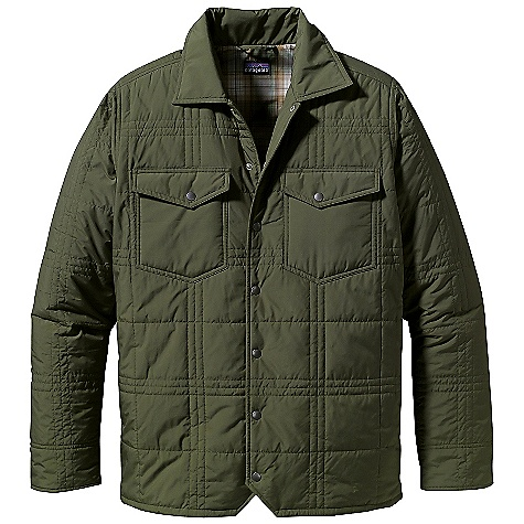 Free Shipping. Patagonia Men's Freebox Jacket DECENT FEATURES of the Patagonia Men's Freebox Jacket Soft yet durable polyester plain-weave shell sheds moisture and Thermogreen recycled polyester insulation maintains warmth even when wet Insulated jacket has quilted exterior with plaid lining Metal snaps on placket, chest pockets, and cuffs Pockets: Two chest pockets (with snapped flaps) and two on-seam hand warmers Adjustable double-snap cuffs and a straight hem Hip length The SPECS Slim fit Weight: 19.3 oz / 547 g 2-oz 100% polyester plain weave with a DWR (durable water repellent) finish Lining: 2-oz 100% polyester Insulation: 100-g (sleeves 60-g) Thermogreen 100% polyester (90% recycled) This product can only be shipped within the United States. Please don't hate us. - $129.00