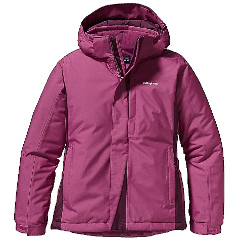 Free Shipping. Patagonia Girl's Snow Flyer Jacket DECENT FEATURES of the Patagonia Girls' Snow Flyer Jacket Durable H2No Performance Standard 2-layer polyester shell and contrast have waterproof/ breathable barrier and a Deluge DWR (durable water repellent) finish Fully taped seams for storm-level protection Highly compressible 150-g Thermo green stays warm even when wet Removable hood has a zipper, snaps, and soft-lock pulls for snug fit and extra warmth Hood has low-bulk 3-panel construction Soft fleece-lined collar Full-length internal wind flap and external storm flap with hook-and-loop closure Articulated sleeves with grow-fit feature increases length by 2in. Elastic cuff adjusts with hook-and-loop closure Two insulated hand warmer pockets with reflective zipper pulls Internal drop-in pocket Hidden zippered chest pocket with interior cable routing Mini-powder skirt seals out snow and attaches to Patagonia Girls' Go-Snow Pants Integrated draw cord and cord locks at bottom hem secure fit Hand-me-down ID label Reflective logo Hand-me-down ID label The SPECS Regular fit Weight: 26.1 oz / 739 g H2No Performance Standard Shell: 2-layer, 5.6-oz 100% polyester Contrast: 2.5-layer, 2.6-oz 50-denier 100% nylon ripstop Shell and contrast have a waterproof/breathable barrier Lining: 2-oz 100% polyester plain weave All with a Deluge DWR (durable water repellent) finish Insulation: 150-g Thermo green 100% polyester (90% recycled) This product can only be shipped within the United States. Please don't hate us. - $199.00