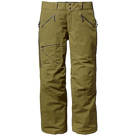 Free Shipping. Patagonia Men's Primo Pant DECENT FEATURES of the Patagonia Men's Primo Pant Tough 3-layer recycled nylon Gore-Tex fabric protects against cold and wet snow Waist details: Soft brushed tricot lining wicks moisture Adjustable elastic tabs customize the fit Two-snap closure and zip fly Loops on rear yoke securely attach pants to powder skirt on any Patagonia Snow jacket to keep out snow Slim Zip installation with watertight coated zippers for reduced bulk and weight Gusseted crotch and articulated knees improve mobility and reduce bulk External thigh vents quickly release heat Gaiters keep snow out Tough scuff guards protect inside of leg and bottom hem Zippered Pockets: Two handwarmers and one right thigh The SPECS 3-layer, 5.6-oz 70-denier 100% recycled nylon Gore-Tex fabric with a DWR (durable water repellent) finish Weight: 21.4 oz / 606 g Regular fit This product can only be shipped within the United States. Please don't hate us. - $399.00
